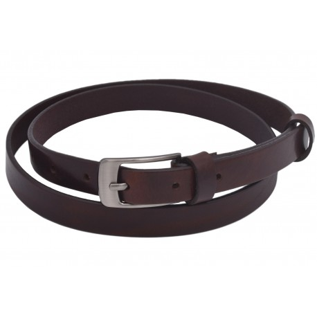 Women's leather belt 722-20-10 dark brown Anabela buckle