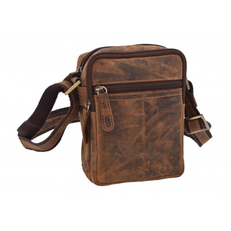 Men's leather crossbody tan hunter Z 250588