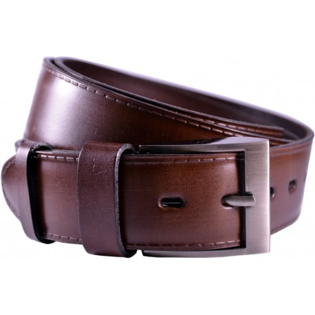 Leather belt embossed, longitudinal pattern, width 4 cm