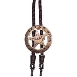 Westernová kovbojská kravata bolo Texas Ranger, mosazná barva
