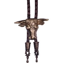 Westernová kovbojská kravata bolo Bizon, mosadzná farba