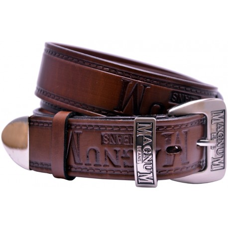 Leather belt with metal finish, embossed pattern and decorative buckle, 4 cm wide