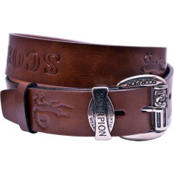 Leather belt with embossed pattern and decorative buckle, width 4 cm