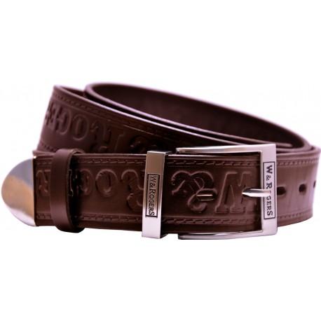 Ledergürtel mit metallischem Ende, geprägtem Muster und dekorativer Schnalle, Breite 4 cm