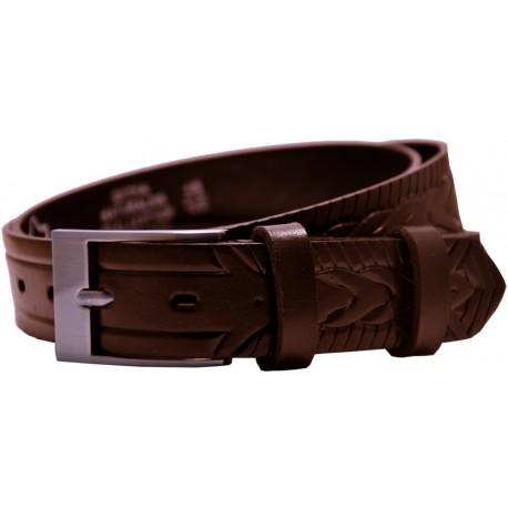 Ledergürtel mit geprägtem Muster und glatte Schnalle, Breite 3 cm