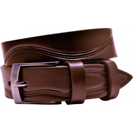 Leather belt with embossed pattern and smooth buckle, width 3 cm