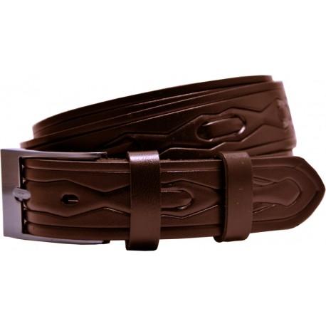 Kožený opasok s razeným vzorom a hladkú sponou, šírka 3 cm