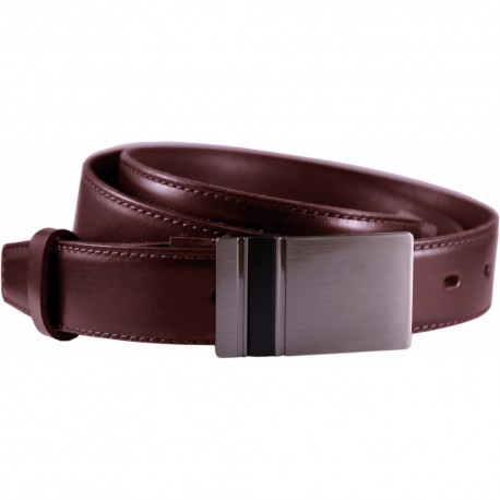 Leather belt narrow with pattern, width 3 cm