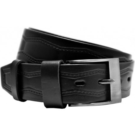 Leather belt with embossed pattern and smooth buckle, 4 cm wide