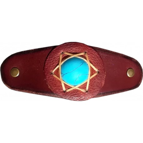 Leather Hair Clip with Blue Howlit
