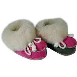 Detské kožené topánočky šedo-ružové