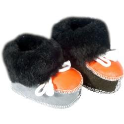 Detské kožené topánočky šedo-oranžové
