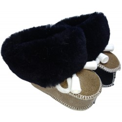 Children's leather slippers black-brown 2