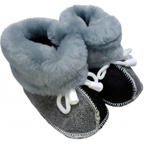 Children's leather slippers gray-black