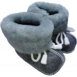 Detské kožené topánočky šedé