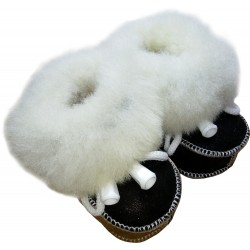 Children's leather slippers black-brown 4