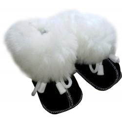 Children's leather slippers black