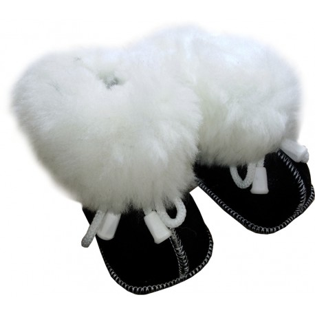 Children's leather slippers black