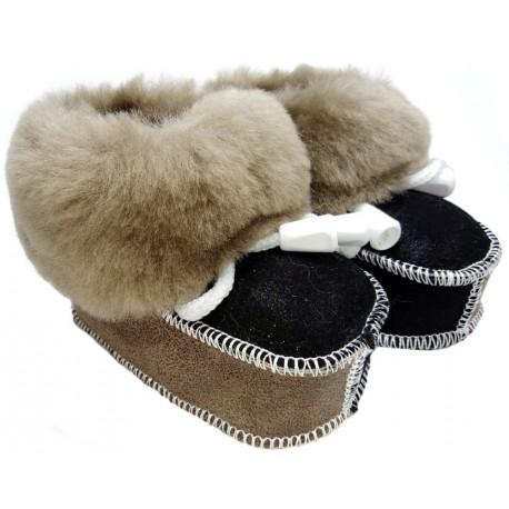 Detské kožené topánočky čierno-hnedé