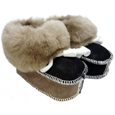 Furry shoes for children black-brown