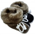 Children's leather slippers black-brown 3