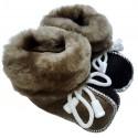 Detské kožené topánočky čierno-hnedé 3