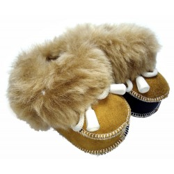 Children's leather slippers brown-black 1