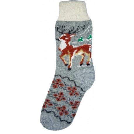 Vlněné ponožky motiv jelena 3