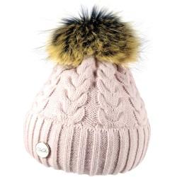 Zimní pletená vlněná čepice růžová 3