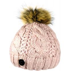Zimní pletená vlněná čepice růžová 2