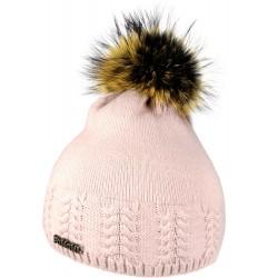 Zimní pletená vlněná čepice růžová 1