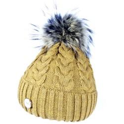 Zimní pletená vlněná čepice tmavě žlutá