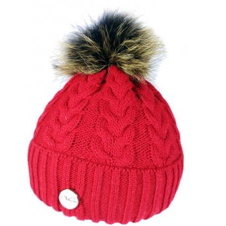 Zimná pletená vlnená čiapka červená