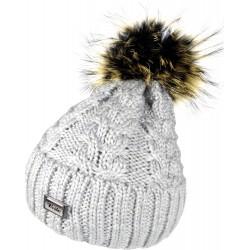 Zimní pletená vlněná čepice šedá 1