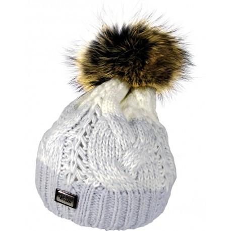 Zimní pletená vlněná čepice tříbarevná