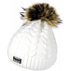 Zimní pletená vlněná čepice bílá 2