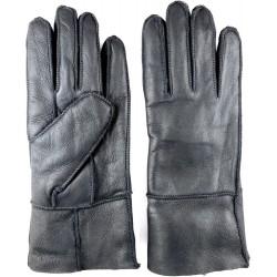 Zimní dámské kožené rukavice černé