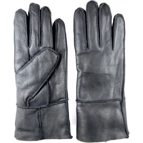 Zimné dámske kožené rukavice čierne