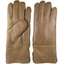 Zimné dámske kožené rukavice svetlo hnedé