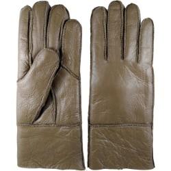 Zimní dámské kožené rukavice tmavěhnědé