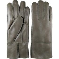Winter women's leather gloves dark green-gray