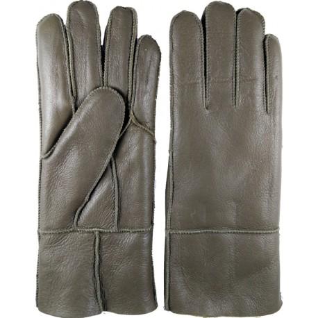 Zimní dámské kožené rukavice tmavě zelenošedé