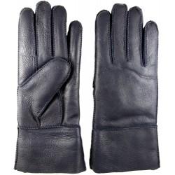 Zimné dámske kožené rukavice tmavo modré