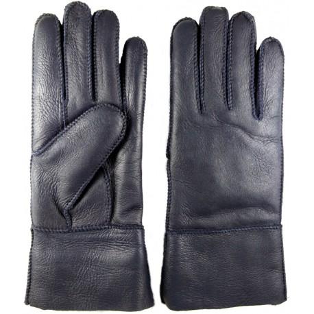 Zimní dámské kožené rukavice tmavě modré