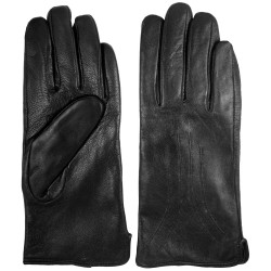 Zimné dámske kožené rukavice čierne 5