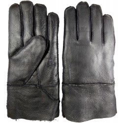 Winter men's leather gloves black 1