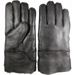 Zimní pánské kožené rukavice černé 1