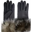 Luxusní dámské kožešinové prstové rukavice sjehněčí kožešinou a lemem 2