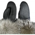 Luxus Damen Lederhandschuhe mit Lammfell und Saum