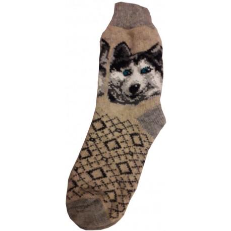 Vlnené ponožky motív psa